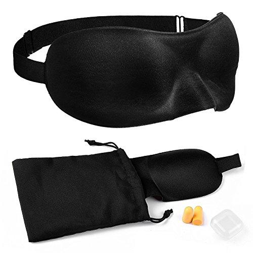 MARIEHR FEEL.LIFE Schlafbrille Augenbinde Schlafmaske inkl. Ohrstöpsel + Aufbewahrungsbeutel in schwarz