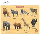 #7: Negi Wooden Colorful Learning Educational Puzzle Board for Kids with Knobs, Educational Learning Wooden Board Tray, Size- 28.5cm X 20.5cm, Available in 8 Different Variants (Animals)