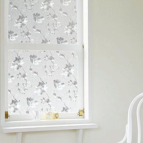 Fenster Filme 3D Spring Flower Pattern Dekorative Fensterfolie, Milchglas Glas Aufkleber Kunststoff 45 x 100 cm
