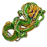 Best GENERIC Jewelry Supplies - FNT Mens Belt Buckle Green Painted Coiled Dragon Review