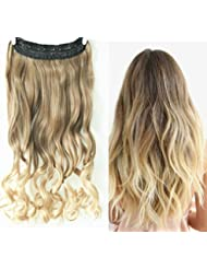 3/4 Full Head Clip in Hair Extensions Ombre One Piece 2 Tones Wavy (Light ash brown to sandy blonde) by D&L