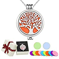 "Aromatherapy Essential Oil Diffuser Pendant Necklace,WAWJ Life Tree Stainless Steel Christmas Mothers Day Gift Jewelry with 24"" Chain & 12 Felt Pads"