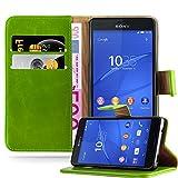 Cadorabo Hülle für Sony Xperia Z3 COMPACT - Hülle in Gras GRÜN – Handyhülle im Luxury Design mit Kartenfach und Standfunktion - Case Cover Schutzhülle Etui Tasche Book