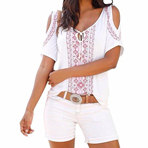 Yanhoo Damen Blusen Mode Hemd Blusentop Sommer Drucken Kurzarm V-Ausschnitt Krawatte Reizvolle Schulterfrei Shirt Tops Bluse T-Shirt (M, Weiß)