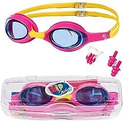 KidSwim - Gafas de natación para niños (Edad 4 - 12), sin Fugas, Impermeables, con Lente antiniebla y Correa de Silicona Suave