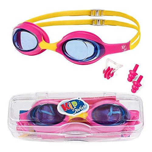 KidSwim Schwimmbrille für Kinder (Alter 4 - 12), wasserdicht, mit Antibeschlag-Linse und weichem Silikonband