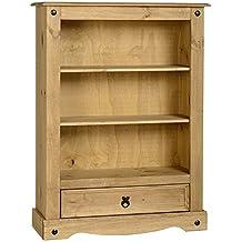 librera clsica y prctica corona de madera de pino maciza u proporciona a este mueble un estilo rstico y tnico u seleccin de baldas y cajn para