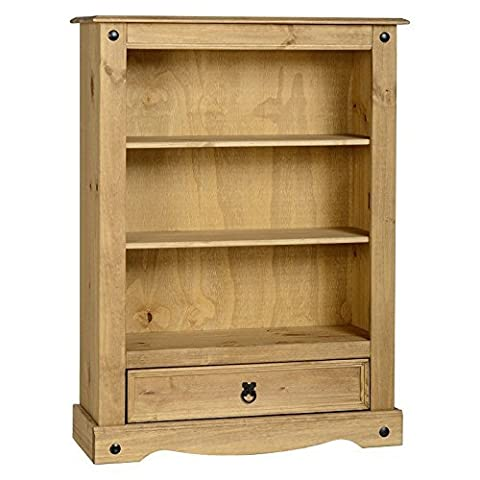 Classic And Practical Corona Solid Pine 1 Drawer Wood Bookcase - Giving This Piece Of Furniture A Rustic And Ethnic Look - Selection Of 2 Shelves And 1 Drawer For All Your Storage And Books