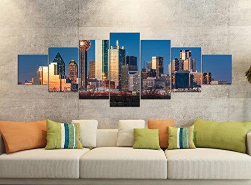 Leinwandbilder 7 Tlg 280x100cm Dallas Skyline USA Stadt Trinity River Leinwand Bild Teile teilig Kunstdruck Druck Vlies Wandbild mehrteilig 9YB1575, Leinwandbild 7 Tlg:ca. 280cmx100cm