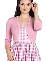 Hell Bunny Ladies 50s Plain Cardigan Maggie Bolero Top Candy Pink All Sizes