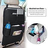 Auto-Rückenlehnenschutz Salcar Auto Organizer (15% Rabatt für zweiten gekauften Artikel) Multifunktionale Stuhl Zurück Aufbewahrungstasche für Kinder Kick Matte für iPad,iPhone,DVD,Getränke - Schwarz