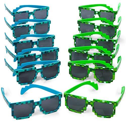 Occhiali da sole, uomo donna vetro 8 bit pixel mosaico occhiali photo props unisex occhiali da sole toy, 12 pezzi-
