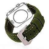 Bandmax Echtes Lederarmband mit klassischer Gürtelschnalle Wickelarmband Ersatzarmband für 42MM Apple Watch/Apple Watch Sport/iWatch Edition(Grün)