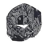 VRTUR Damen Sport Stirnband Schweißband Anti-Rutsch Kopf schweissband Haarband Stirnbänder Headband Atmungsaktiv für Rennen,Joggen,Volleyball,Yoga,Fitness,Radfahren(Einheitsgröße,Schwarz)