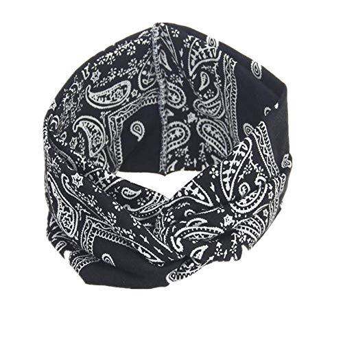 VRTUR Damen Sport Stirnband Schweißband Anti-Rutsch Kopf schweissband Haarband Stirnbänder Headband Atmungsaktiv für Rennen,Joggen,Volleyball,Yoga,Fitness,Radfahren(Einheitsgröße,Schwarz) -