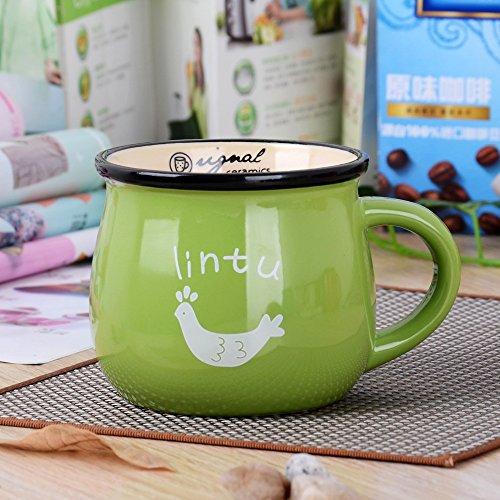 BOOMZZ Milchfrühstücksschalen Kaffeetasse Farbglasurbecher Der Retro Keramikschale Dicker Bauch 350Ml Grün