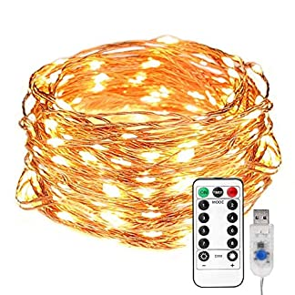 LE Guirnalda de luces USB Blanco cálido Alambre de cobre impermeable, Decoración de fiestas, Guirnalda de luces de Navidad