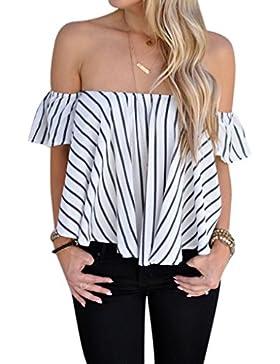Rcool Mujeres Fuera del hombro Stripe Casual Blusa Camisa Tops