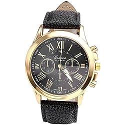 Relojes Pulsera Mujer - Rcool de Romana Cuero de Imitación Relojes de Pulsera de Cuarzo Analógico Regalo (Negro)