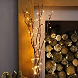 Wooden LED Twig Lights Tree Branches Battery Operated Festive Decoration 85 cm (LED Twig Branches Brown)
