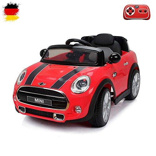 MINI Cooper S Kinder Elektroauto Deluxe-Edition, 2.4GHz Fernbedienung, Multifunktionscockpit, MP3-Anschluss, realistischen Soundeffekten, 12V Powerakku und 2x35W starker Motor, 2 Speed, und vieles mehr (Rot)