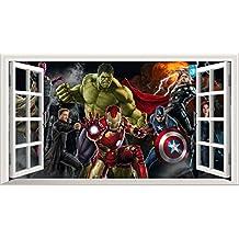 Marvel Avengers Superhero V3033d Magic ventana de póster de arte de la pared Tamaño de adhesivo de pared autoadhesivo 1000mm de ancho x 600mm de profundidad (Tamaño Grande)