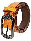 AmyKer Damen Gürtel Vintage Ledergürtel mit Schnalle, Rot, Gelb, Braun, Schwarz, Geschenk für Sie (Gelb, 105 cm (Taille: 20