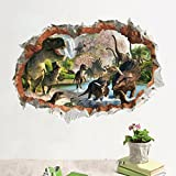 Zooarts Halloween Horror Dinosaurs Out Wall Removable Mural Wall Stickers Decals Room Home Party Decoration
