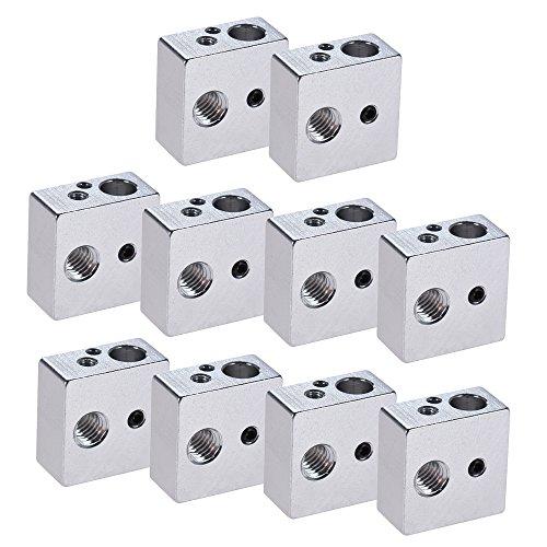 Aibecy 10 Pcs 20 x 20 x 10 mm 3D Drucker Aluminium Heizung Stück Heizblock All Metal Heat Block Hot End Für MK7 MK8 Extruder Düse RepRap Prusa i3 DIY 3D Drucker Zubehör