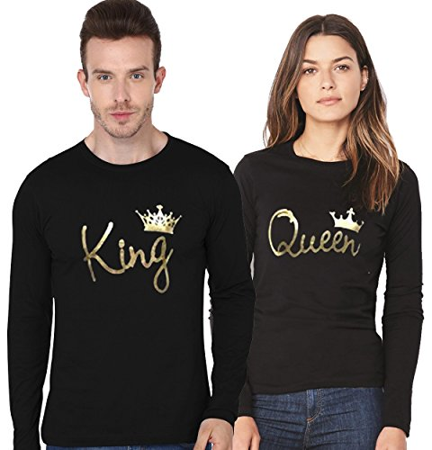 ADYK Cotton full sleeved Couple T-Shirts King and Queen (Pack of 2)