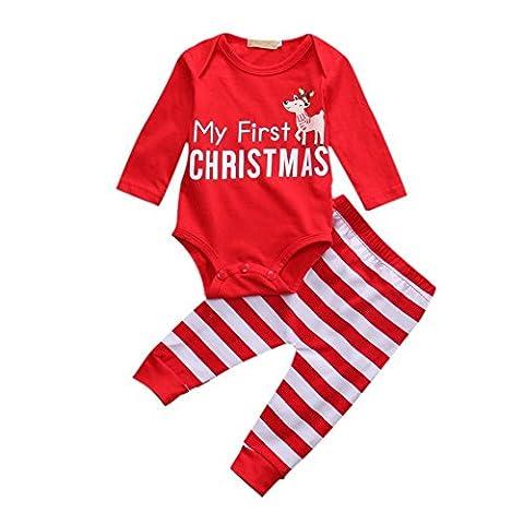 Bornbay Outfit für Baby Girl Meine erste Weihnachts-Spielanzug Bodysuit Gestreifte Hosen Xmas Tuch Set 0-18