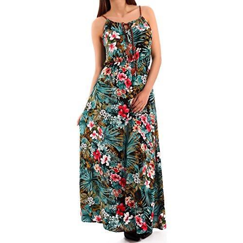 Young-Fashion Damen Maxikleid Hippie Maxidress Longdress Strandkleid Freizeit