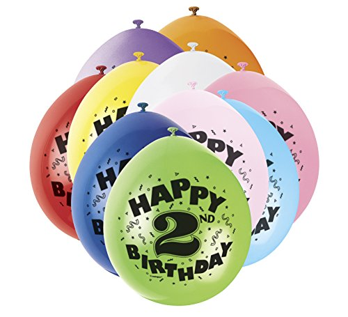 Unique Party Supplies 22,9 cm Latex Ballons, Happy Birthday Sortiert 10 Stück (Party Autos In Supplies)