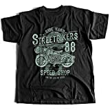 A002-160 Street Bikers Hommes T-Shirt Ride Hard Speed Shop Caferacer Custom Engine Garage Moto Cafe Racer Club(XX-Large,Black)