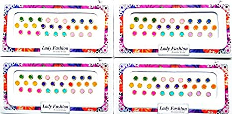 Lady Fashion Trendy Bindis, Multicolor (Pack of 4)