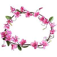 Hunpta - Ramo de flores artificiales con diseño de magnolia y flores de vino, para decoración del hogar, hot pink