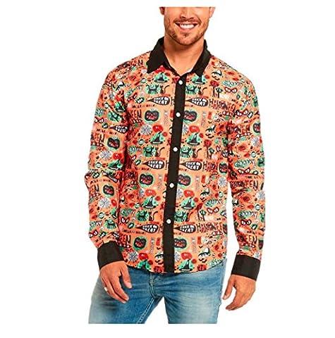 Halloween Herren Freizeit Hemd,FORH Handsome Mode Bunte Drucken Blumen Bluse slim fit Taste hemden Formell business hemden (S, (Draculas Frau Kostüm)