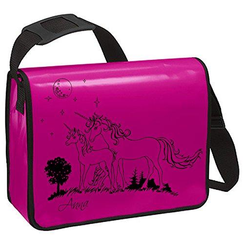 Schultertasche Schultasche Planentasche Umhängetasche Einhorn Einhörner auf Weide Wiese Sternenhimmel Mond mit Name Wunschname ta226b - ausgewählte Farbe: *Pink* Pink
