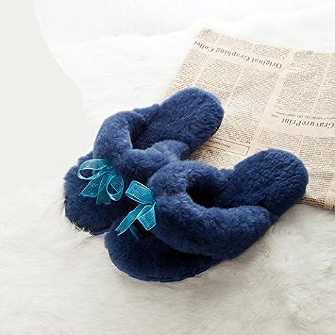 ZHLONG Pelliccia di pecora Ladies pantofole a casa in autunno e inverno caldo fuzzy Pantofole , navy blue , 40 - Navy Blue Slittamento