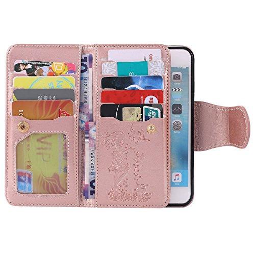 """Schutzhülle iPhone 6S Hülle Flip Style, Doppelte Zwischenschicht Brieftasche Karte Halter, Weich PU Leder Gedruckt Hübsch Mädchen Muster Handy Tasche Case für Apple iPhone 6 6S 4.7"""" Rose Gold Rose Gold"""