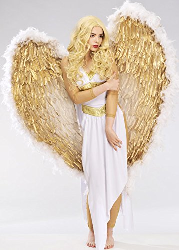Deluxe Extra Large Weiß und Gold Feder Angel Wings (Gold Angel Kostüm)