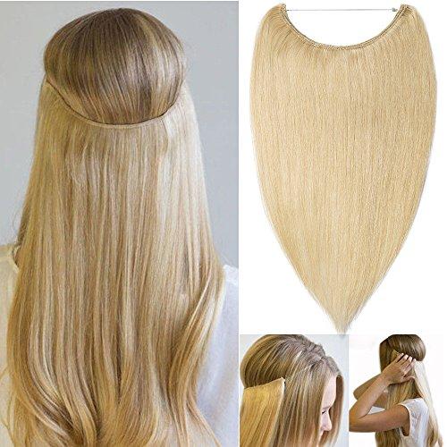 Extension capelli veri fascia unica con filo trasparente one piece wire in no clip hair extensions 100% remy human hair lunga 40cm pesa 60g, #613 biondo chiarissimo