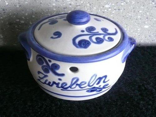 Zwiebeltopf aus Keramik 1,00 ltr. Inhalt weiß-blau