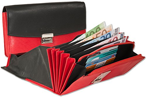 Rimbaldi - Profi-Kellnerbörse mit verstärktem Hartgeldfach aus weichem, naturbelassenem Kalbsleder in Schwarz/Rot Kombination
