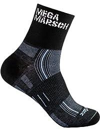 WrightSock Profi Sportsocke, Laufsocke, Wandersocke in schwarz, doppel-lagig, STRIDE quarter mittellang Black - Schriftzug Megamarsch