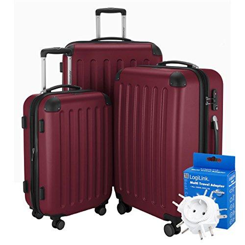 Hauptstadtkoffer - Spree - 3er-Koffer-Set Trolley-Set Rollkoffer Reisekoffer-Set Erweiterbar, TSA, 4 Rollen, (S, M & L), Burgund +Reiseadapter