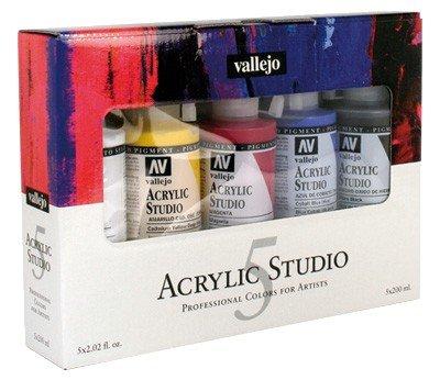 VALLEJO ACRYLIC STUDIO 5x200ML (Blanco de Titanio, Amarillo Cadmio Oscuro, Magenta, Azul Cyan, Negro Óxido de Hierro)