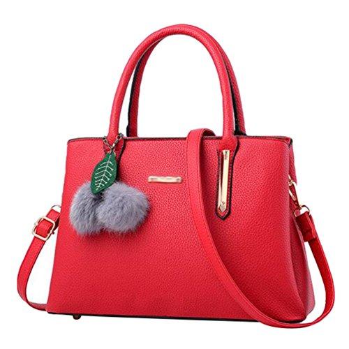 Baymate Mode Handtasche Tragetasche Damen PU Leder Messenger Bags Wein Rot