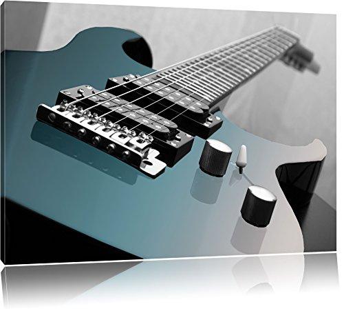 Gros plan d'une guitare électrique noir / blanc Taille: 100x70 sur toile, XXL énormes Photos complètement encadrées avec civière, impression d'art sur murale avec cadre, moins cher que la peinture ou une peinture à l'huile, pas une affiche ou une bannière,