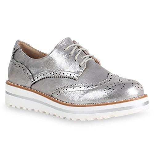 Damen Schuhe Halbschuhe Brogues Schn?RER Metallic Glitzer Freizeit 154163 Silber 38 Flandell